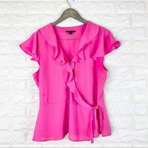 Banana Republic Wrap Blouse Top Solid Pink